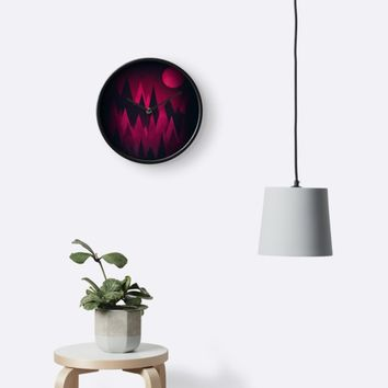 'Dark Triangles (Peak Woods) Abstract Grunge Mountains Design (red/black)' Clock by badbugs