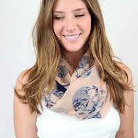Large Skull Patterned Infinity Scarf