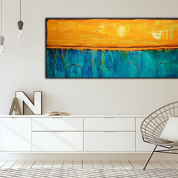 Extra Large Abstract Painting on Canvas , Textured Art  , 60x30 inch , Blue Abstract Artwork . Rust art, Free Shipping !