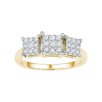 10kt Yellow Gold Womens Round Diamond Triple Cluster Bridal Wedding Engagement Ring 1/4 Cttw 108690