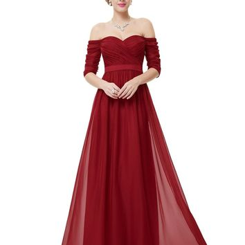 Free Shipping 2016 New Arrival Women Elegant Sweetheart Strapless Half Sleeve Long Red Prom Evening Dress