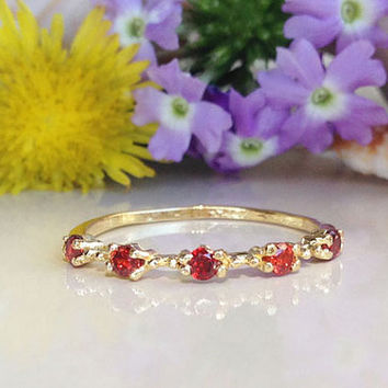 20% off-SALE!! Garnet Ring - Stack Red Ring - January Birthstone  - Dainty Ring - Tiny Ring - Slim Band - Simple Jewelry
