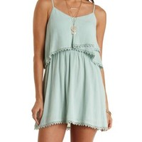 Crochet-Trim Layered Flounce Dress by Charlotte Russe