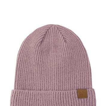 Ribbed Knit Beanie in Dusty Pink