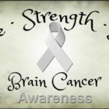 Hope Strength Love Brain Cancer Awareness License Plate