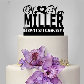 personalize wedding cake topper, unique wedding cake topper, custom lastname topper, with event date, monogram cake topper,  Mr and Mrs