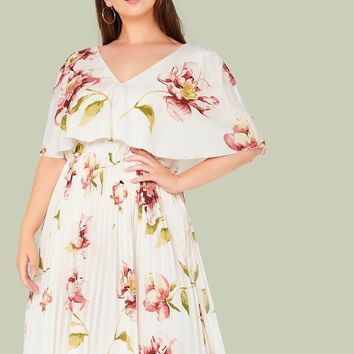 Plus V-neck Cape Sleeve Pleated Floral Dress