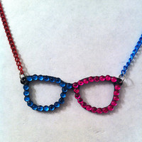 Fun two toned pink and blue bling rhinestone glasses necklace, geekery geek necklace, fun jewelry
