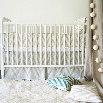 Linen crib skirt and bumper set  by Lovely Home Idea. Zigzag Chevron Herringbone children bedding collection. Custom color