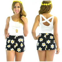 Dear Daisy Print Highwaisted Mini Shorts