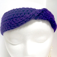 Purple Ear Warmer, Narrow Headband, Winter Headband, Thin Mobius Headband, Twisted Headband, Ladies Earwarmer