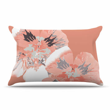 "Love Midge ""Graphic Flower Nasturtium Coral"" Pink Floral Pillow Sham"