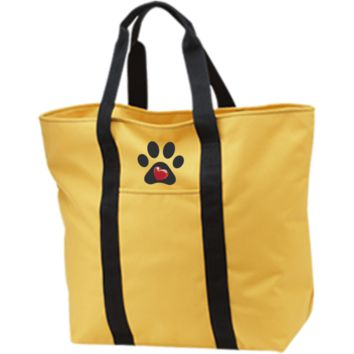 """Embroidered """"My Heart"""" Paw Print All Purpose Tote Bag"""