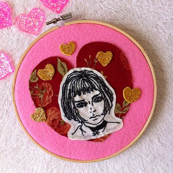"Mathilda from ""Leon the professional "" movie wall decor /Movie embroidery hoop art/ Mathilda collage embroidery"