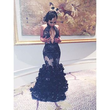 Sexy Keyhole High Neck Black Lace Backless Ruched Ruffles Prom Dress 2017 Long African Black Girls Prom Dresses Evening Gowns