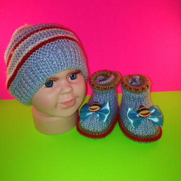 Set  of Blue and Red Hat and booties  with monkey