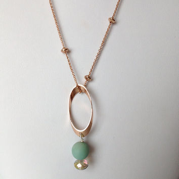 Bridal Rose Gold Necklace with Pendant