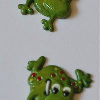 "Buttons, novelty, frog, sewing, scrapbook or craft supply, 7/8"" childrens wear notions, 99 cents shipping"