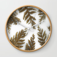 Golden Palm on White Wall Clock by Scott Hervieux