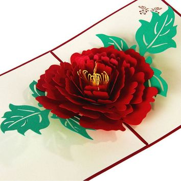3D Pop Up Paper Laser Cut Greeting Cards Creative Handmade Peony Birthday Christmas Anniversary Souvenirs Postcards W212