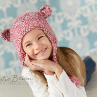Fuzzy Bear or Monkey Earflap Crochet Hat Child Size (Also available in other sizes and colors)