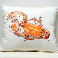 Lobster Pillow - Beach House - Vacation - Clam Bake - Ocean - Sea Life Cushion