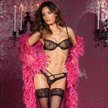 SHEER BRA & LACE THONG - BE WICKED LINGERIE 2PC SET (BW1314)