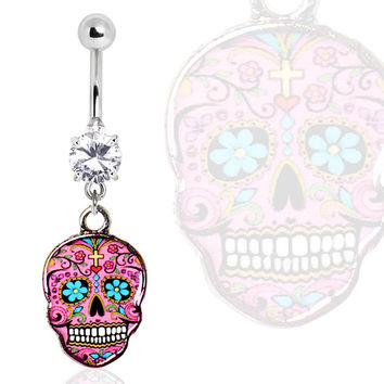 316L Surgical Steel Glass/Gemmed Navel Ring with Pink Sugar Skull Dangle
