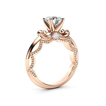 Antique Moissanite Promise Ring 14K Rose Gold Ring Unique Engagement Ring Milgrain Anniversary Ring