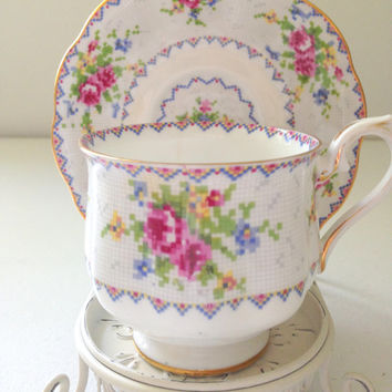 Vintage Royal Albert Bone China Petit Point China Pattern Tea Party Shabby Chic Table Decor