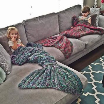 Mermaid blanket air conditioning blanket TV blanket handmade rug rug mermaid tail