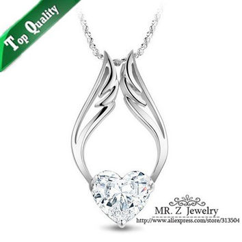 Promotional White CZ Diamond Angel Wings Necklace Wedding Jewelry Crystals Free Shipping