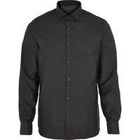 River Island MensBlack dobby dot long sleeve shirt