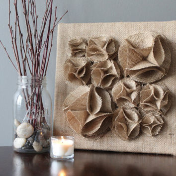 "Burlap Brown 3D Wall Art Canvas, 12x12"" Wall Hanging, Burlap Flower Wall Decor, Burlap Wall Art, Burlap Home Decor, Decoration, Nursery Art"