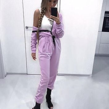 Women's Fashion Long Sleeve Zippers One Piece Jumpsuit [72661893135]