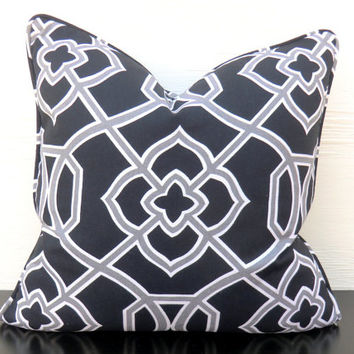 Black trellis pillow cover 18x18 gray ikat couch pillow black and white home decor boho style grey medallion cushion black desk chair pillow