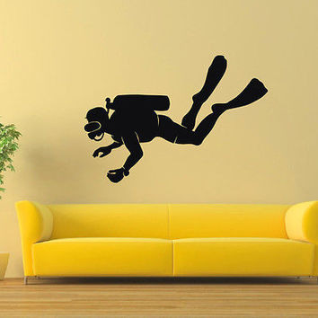 WALL DECAL VINYL STICKER GYM SPORT SCUBA DIVER DIVING DECOR SB241