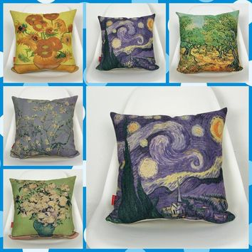 Vincent van Gogh Painting Collection Art Throw Massager Decorative Vintage Pillows Pillow  Cover Home Decor Lover Gift