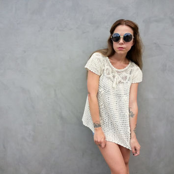 70s Crocheted Baby Doll Shirt from Hawaii