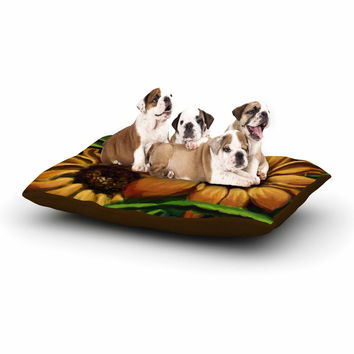"Cyndi Steen ""Sunflower Days"" Yellow Floral Dog Bed"