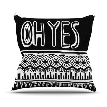 "Vasare Nar ""Oh Yes"" Black White Outdoor Throw Pillow"
