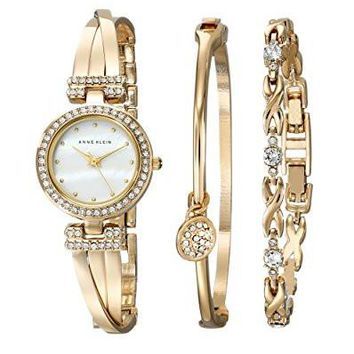 Women's Watch and Bracelet Set Anne Klein AK/1868GBST Swarovski Crystal-Accented Gold-Tone Bangle Watch
