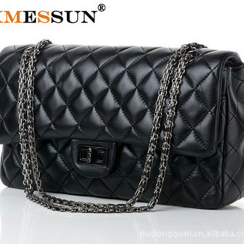 XMESSUN Brand Genuine Leather Women Messenger Bags Cowhide Handbag Lock Chain Quilted Ladies Sheepskin Leather Shoulder Bag M09