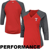 Majestic Texas Rangers Ladies Fashion Feather Weight Tech Fleece Long Sleeve Performance T-Shirt - Red