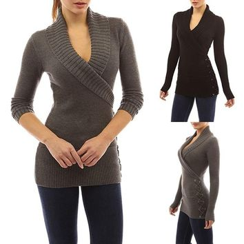 Streetstyle  Casual Autumn Winter Women's Shawl Collar Lace-up Sweater Fashion Slim Knitted Coat Long Sleeve Pullovers Plus Size