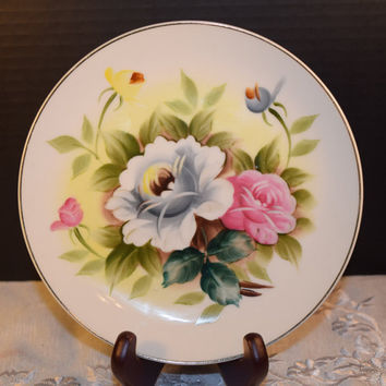 Shafford Kashmir Rose Salad Plate Vintage Kashmir Rose Salad Plate Discontinued China Replacement Holiday Dinnerware Shabby Chic Dishes