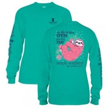 """Youth Simply Southern Long Sleeve Tee - """"Sloth"""""""