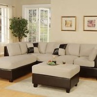 Sectional Sofa Set, Saddle Faux Leather 3-Piece Bobkona Hungtinton Microfiber