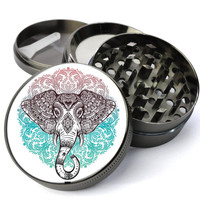 Elephant Mandala Extra Large 5 Piece Spice Tobacco Herb Grinder with Pollen/Keef Catcher