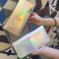 New Arrival 2016 Hologram Color Womens Wallets And Purses Leather Long Style Brand Clutch Purse Credit Card Wallet